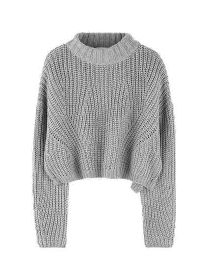 High Neck Chunky Knit Cropped Sweater