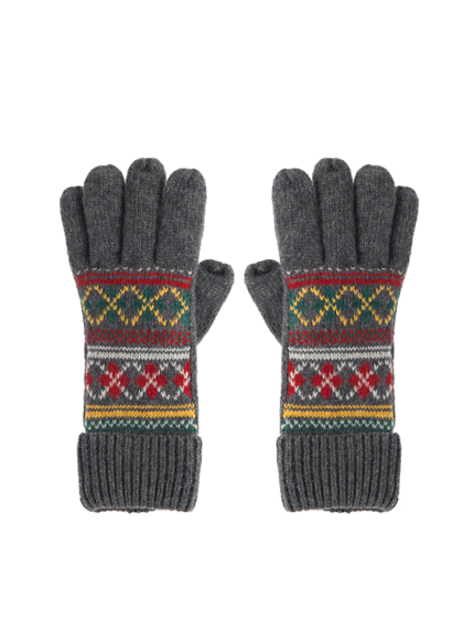 Argyle Pattern Knit Gloves