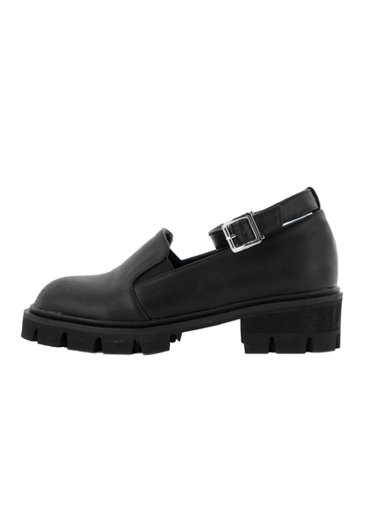 Ankle Strap Faux Leather Loafers