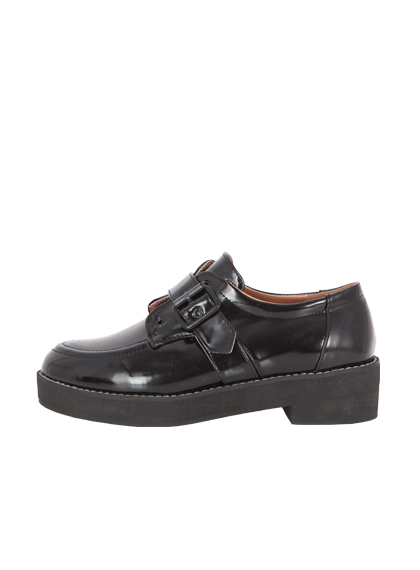 Buckled Black Faux Leather Loafers