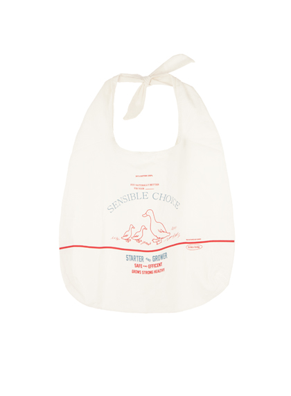 Duck Print Ribbon Strap Tote Bag