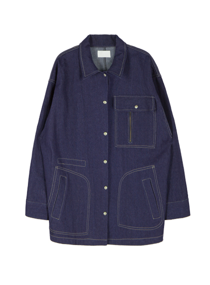 Snap Front Denim Jacket With Multiple Pockets
