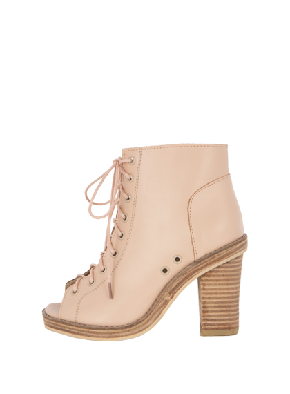 Peep Toe Lace-Up Booties