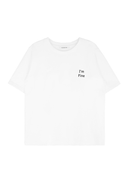 I'M FINE And Smiley Face Print T-Shirt