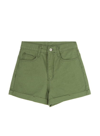 High Waisted Cuffed Hem Shorts