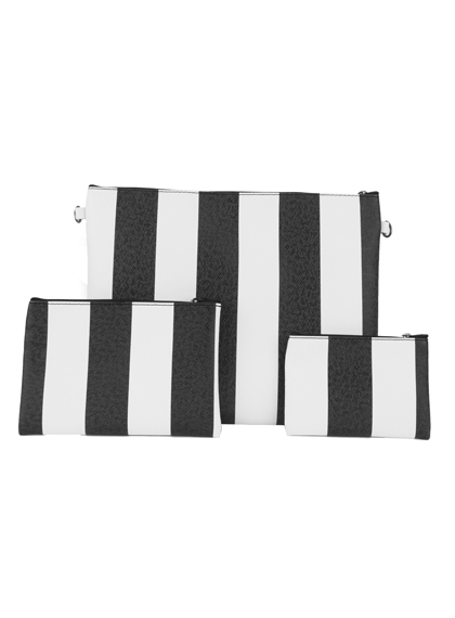 3-Piece Striped Zipper Clutch Bag