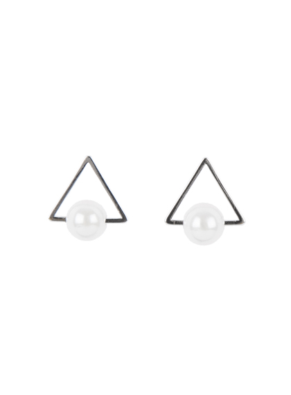 Pearl Center Triangle Earrings