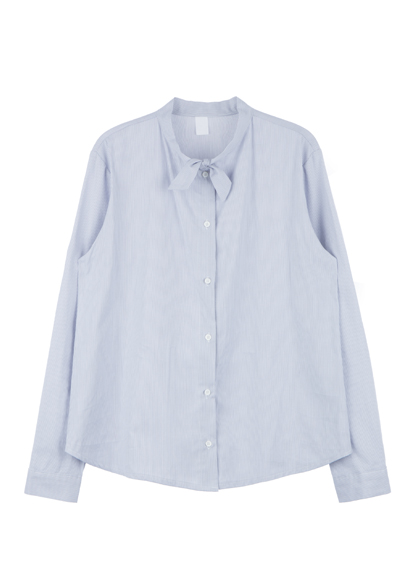 Tie-Neck Button-Down Blouse