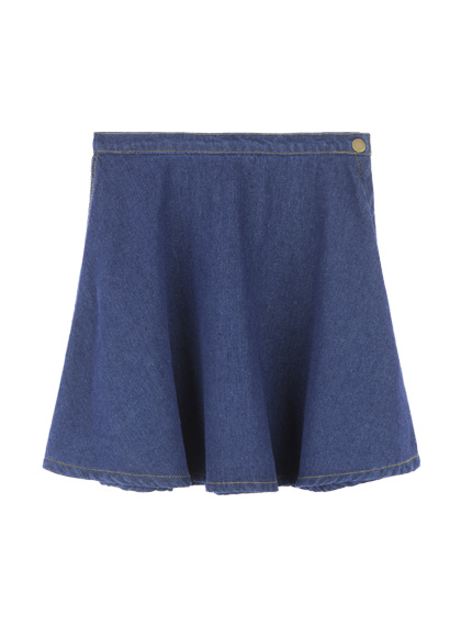 Side Zipper Denim Skirt