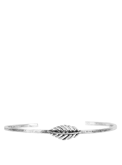 Leaf Pattern Silver Thin Bangle