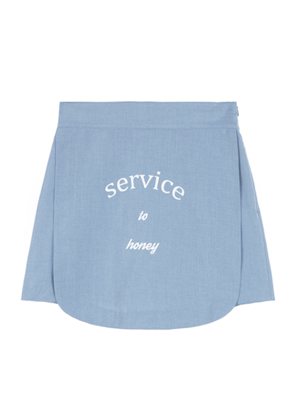 SERVICE TO HONEY Print Apron Skirt