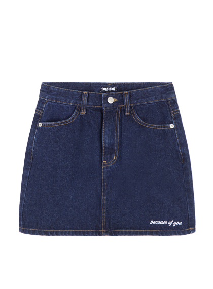 MXMHAPPY Patch Denim Mini Skirt