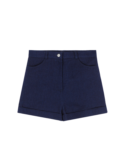 High Waist Cuffed Hem Shorts
