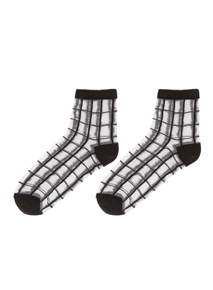 Sheer Check Pattern Ankle Socks