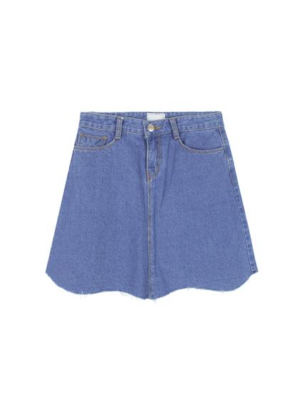 how to cut off denim skirt