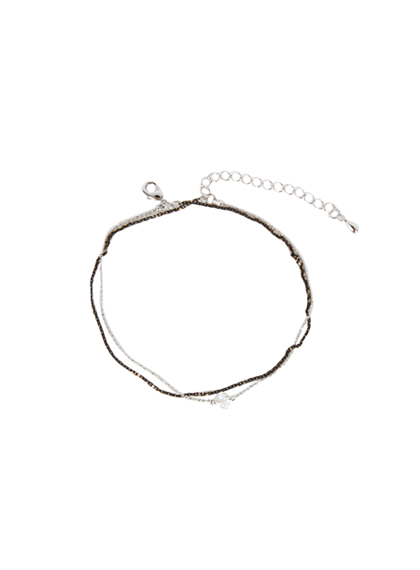 Bead Charm Two Line Anklet