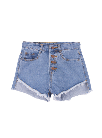 Denim Button-Fly Uneven Hem Shorts