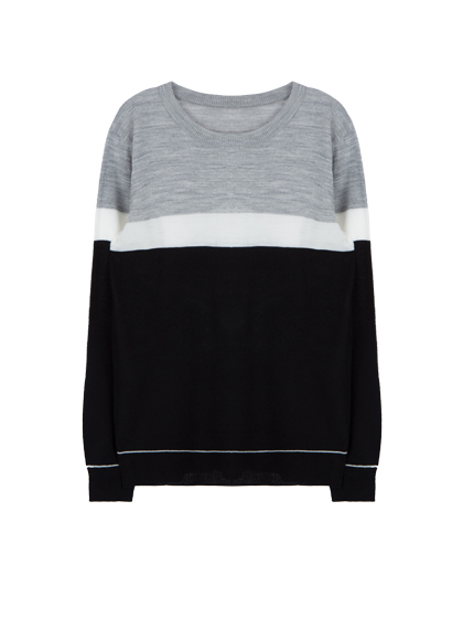 Color Blocked Round Neck Knit Sweater
