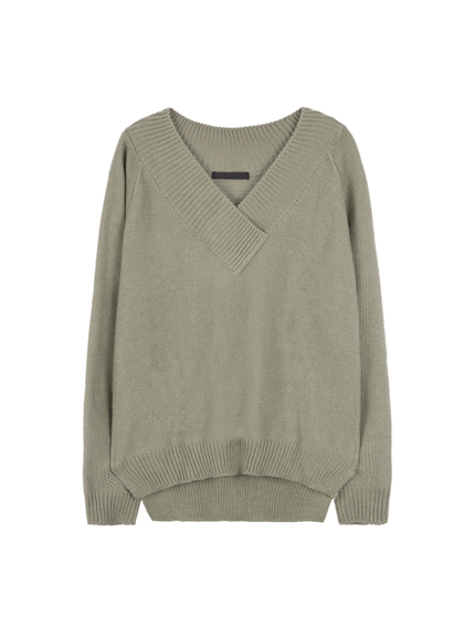 Baggy V-Neck Knit Sweater