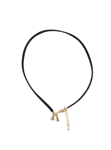 Faux Suede Choker With Golden Pendant
