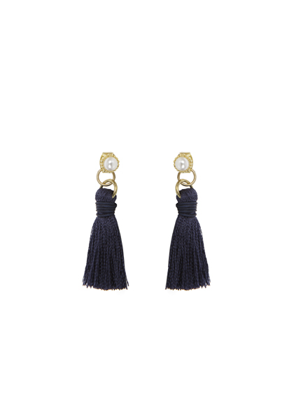 Pearl Stud With Tassel Earrings