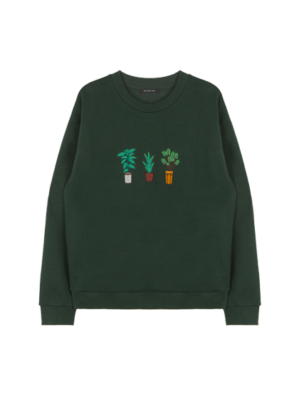 HIDE AND SEEKEmbroidered Potted Plant Detail Sweatshirt
