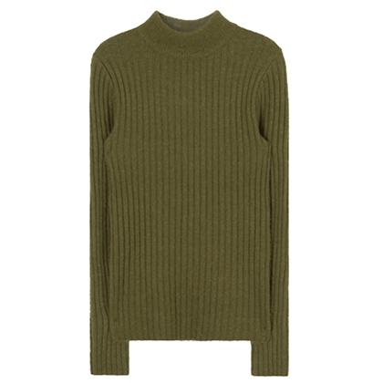 Ribbed Knit Mock Neck Slim Fit Top
