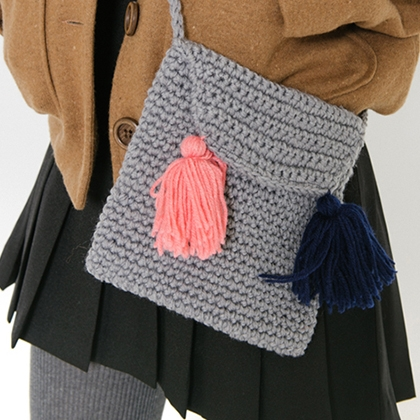 Crochet Crossbody Bag With Tassel Accent