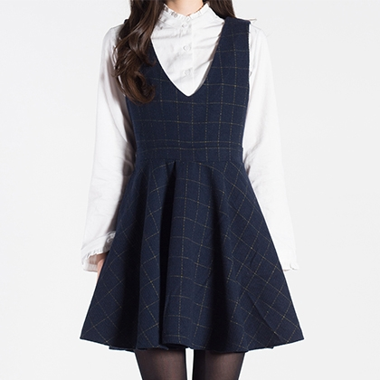 A-Line Windowpane Check Dress