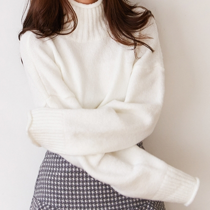 Raw Edge High Neck Knit Sweater