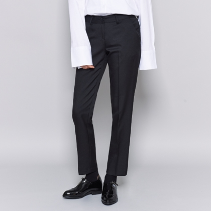 Plain Straight-Leg Slacks