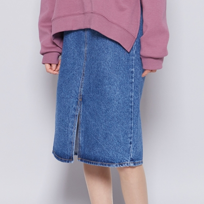 Denim Front Slit Midi Skirt