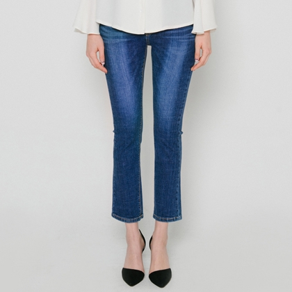 Cropped Whiskered Bootcut Jeans