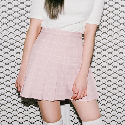 Checkered Pleated Skort
