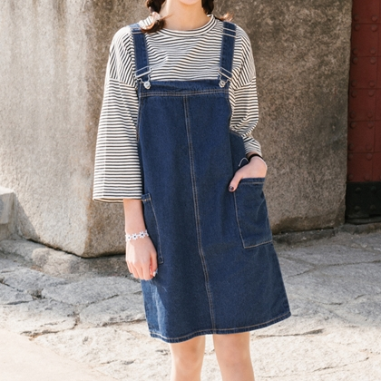 Boxy Denim Overall Dress