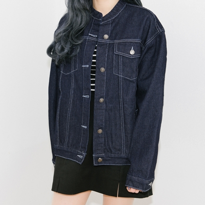 Blue Button-Down Denim Jacket