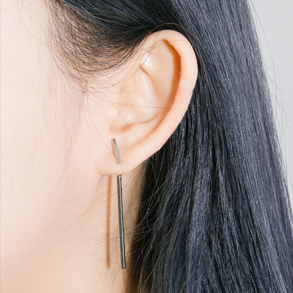 Silver Vertical Bar Earrings
