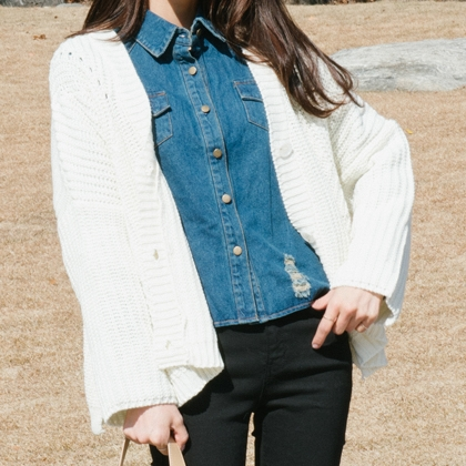 Dropped Shoulder Button-Down Knit Cardigan