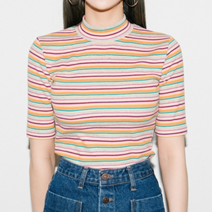 BAUHAUSMulticolor Stripe Mock Neck T-Shirt
