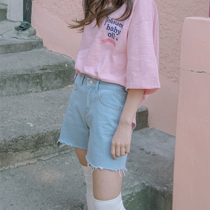 Frayed Hem Straight Leg Denim Shorts (S/M/L)