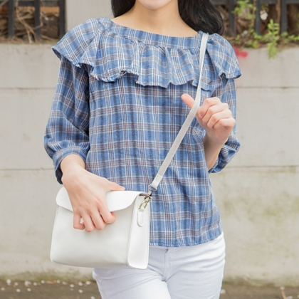 Check Ruffle Collar Blouse