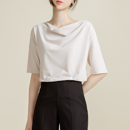 Plain Drape Neck Top