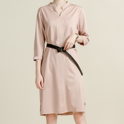 Split Collar Midi Dress
