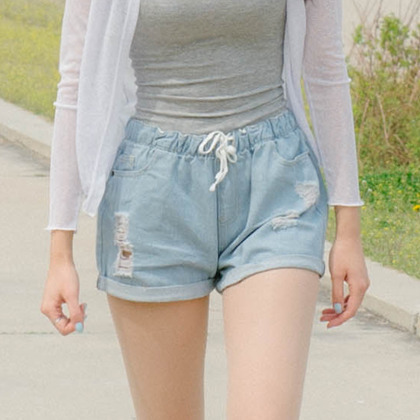 Drawstring Waist Damaged Denim Shorts