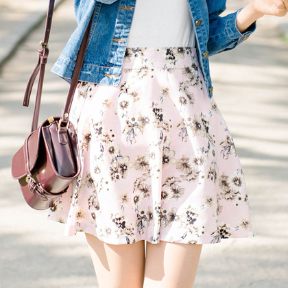 BAUHAUSFloral Print High Waist Flared Skirt