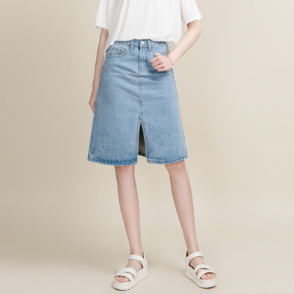 Denim Slit Front A-Line Skirt