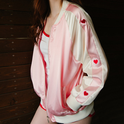 HEART CLUBPink Embroidered Heart Detail Varsity Jacket
