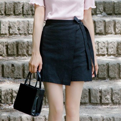 Semi-Elastic Waist Wrap Skirt