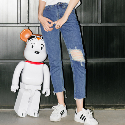 Ripped Knee Cropped Denim Pants