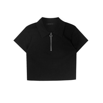 HIDE AND SEEKZip Neck Cropped Polo Shirt